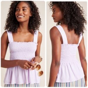 Anthropologie T. La Lavande Smocked Tank Top